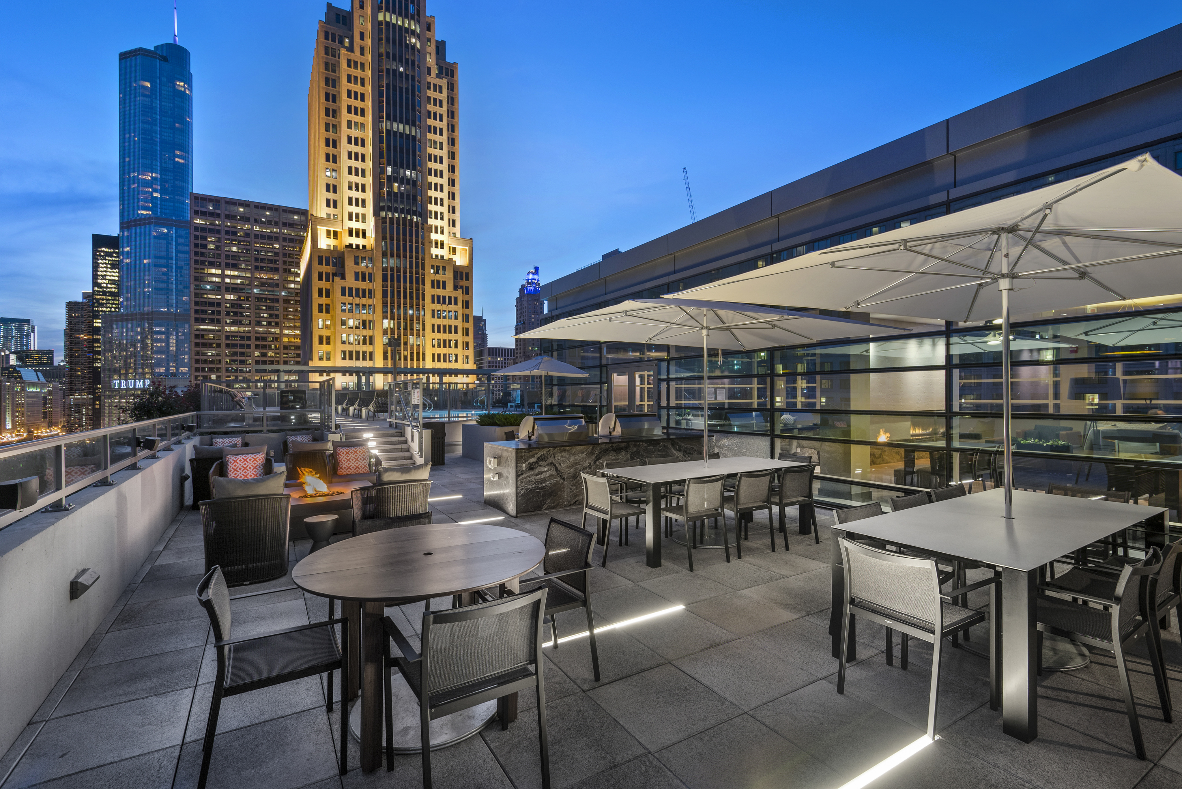 Rooftop lounge area with city views