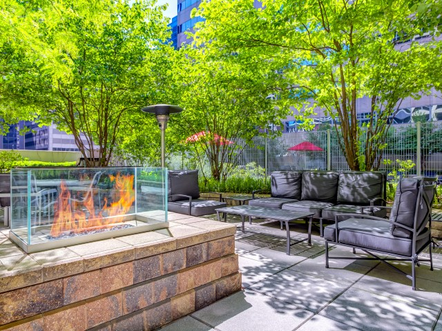 Fire pits, heat lamps, tables and chairs on the outdoor sundeck