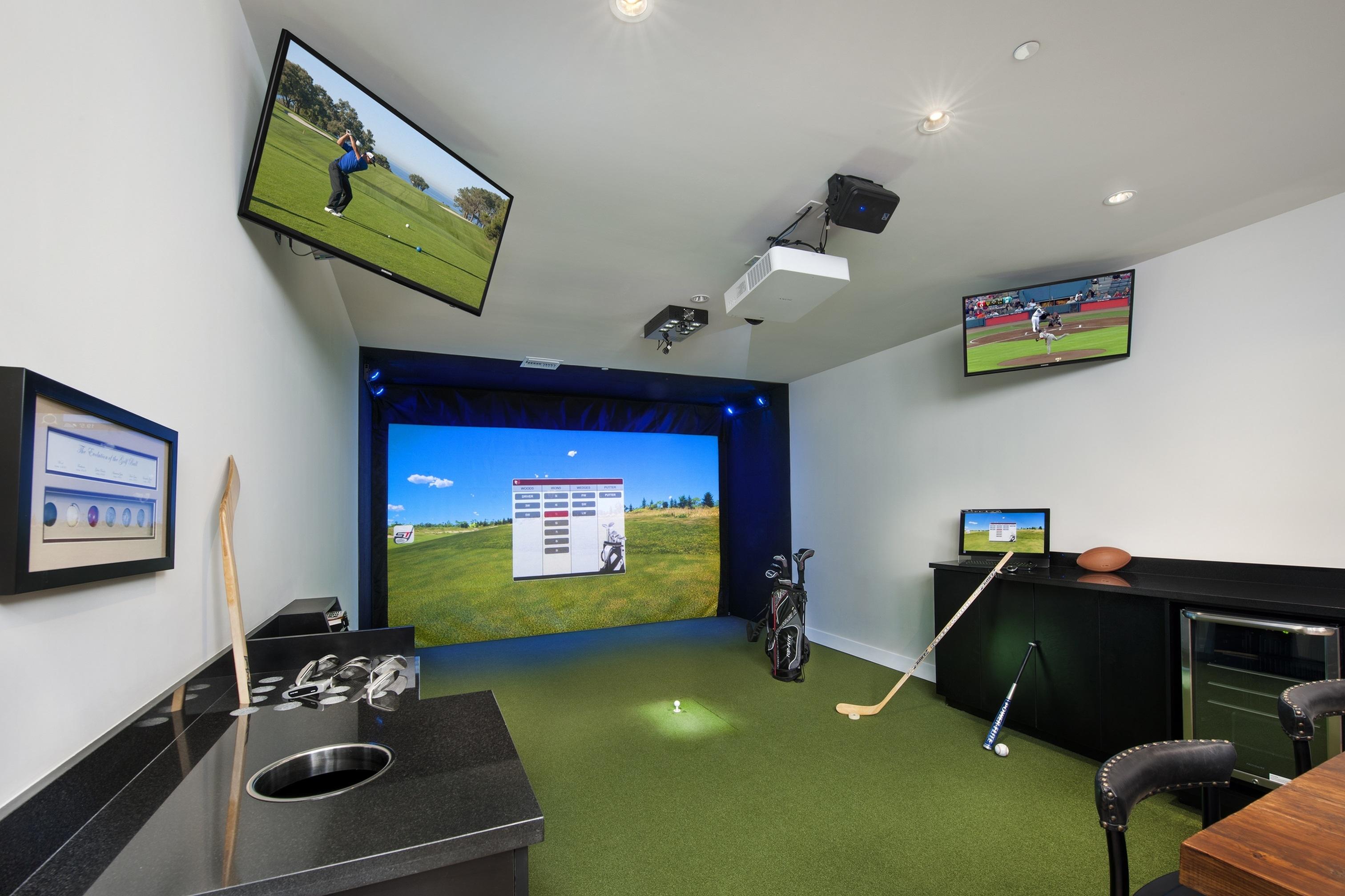 Indoor multi-sport simulator for golf, hockey, baseball, football, soccer and more