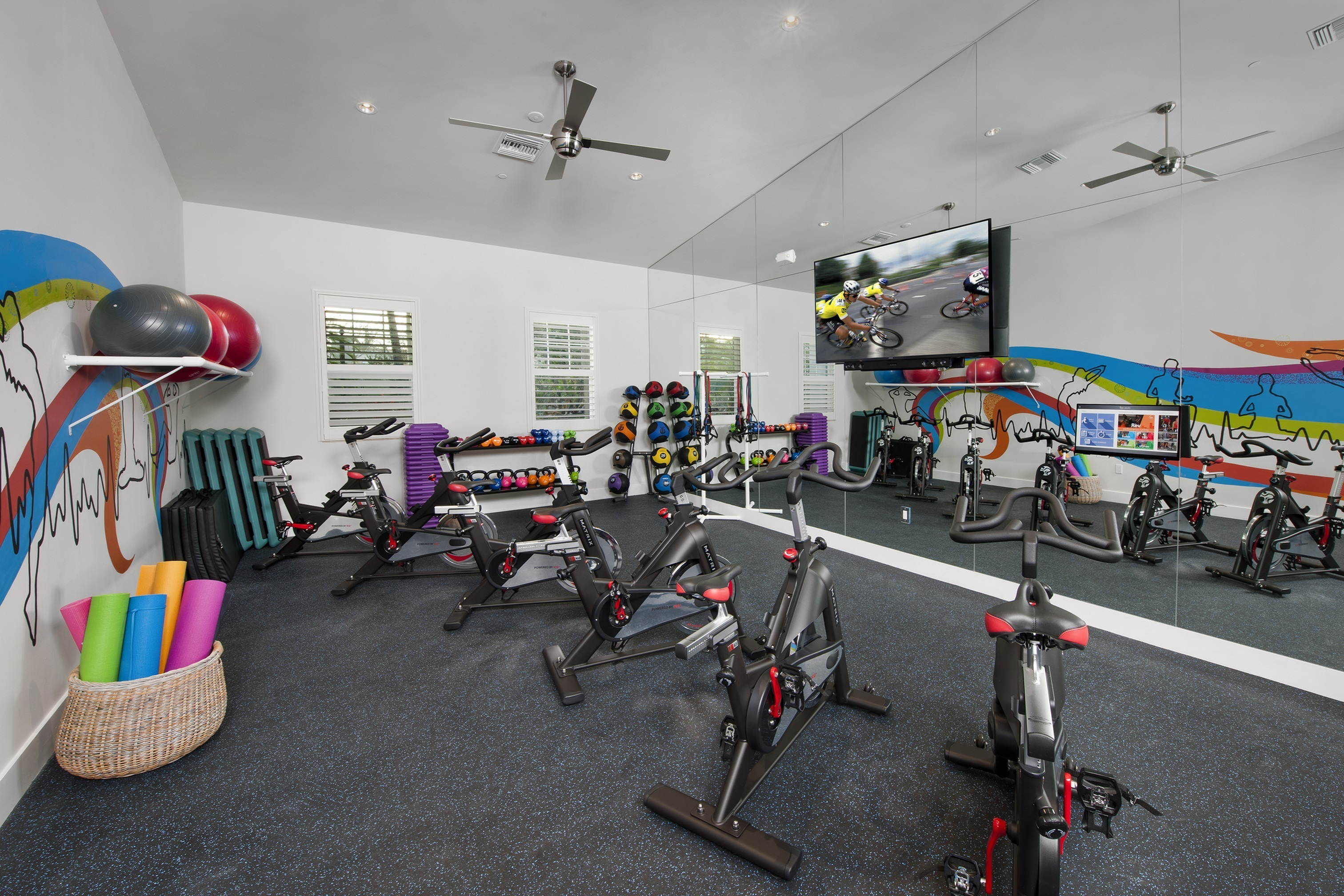 Spin room with stationary bikes, kettle bells, balls, mirrored wall and TV
