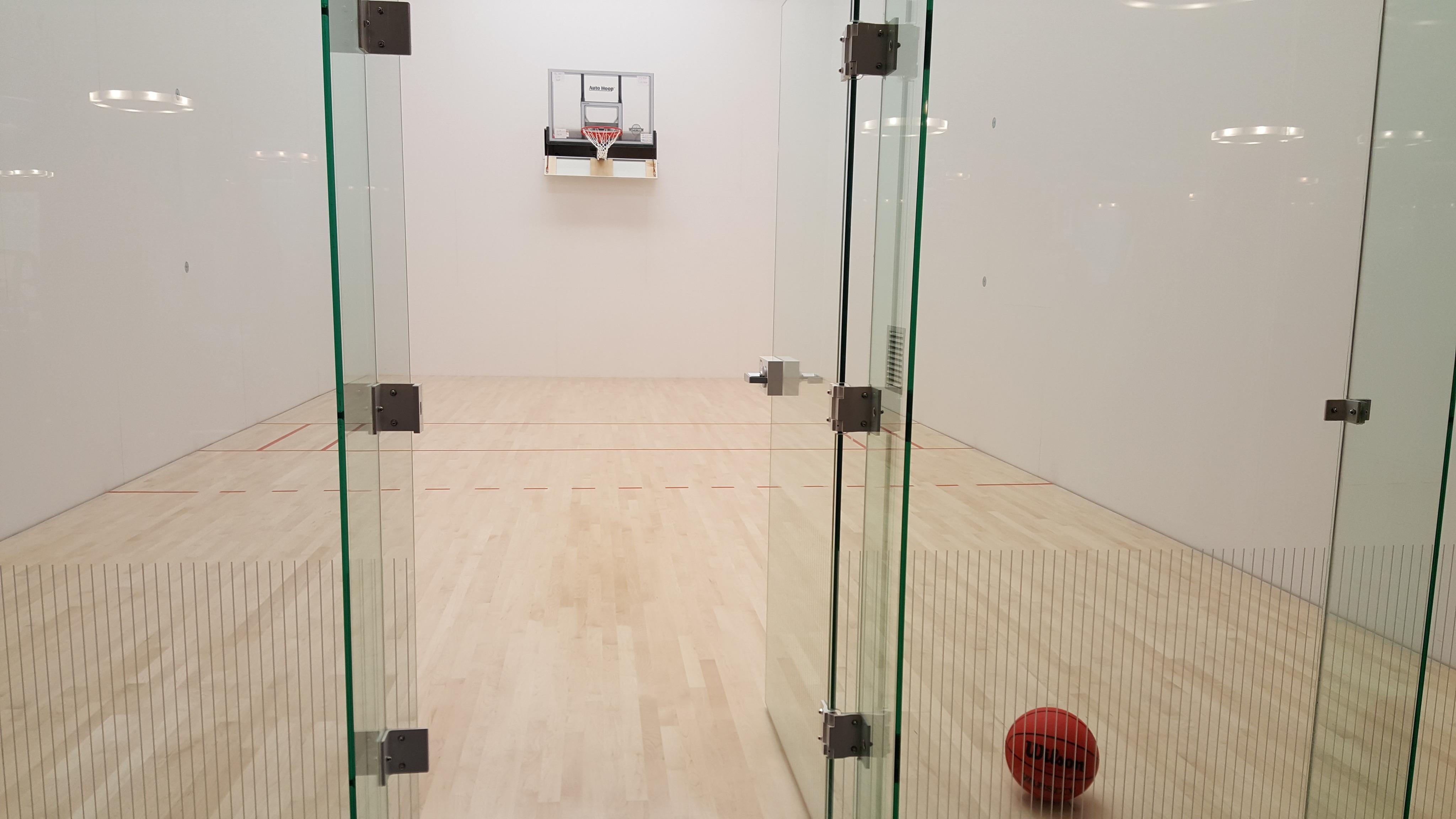 Indoor sport court with basketball net