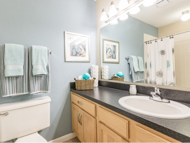bathroom with upgraded lights, dark countertops and plentiful counterspace