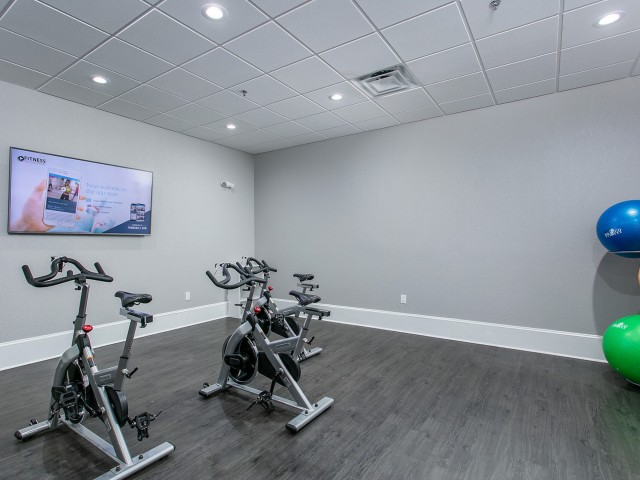 Alvista Metrowest Orlando Florida yoga room with spin bikes, wall mounted fitness on demand center and pilates balls with a wood vinyl flooring