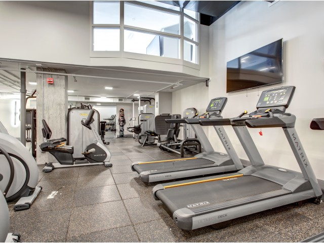 Bi-level fitness center with cardio equipment and flat-screen TV