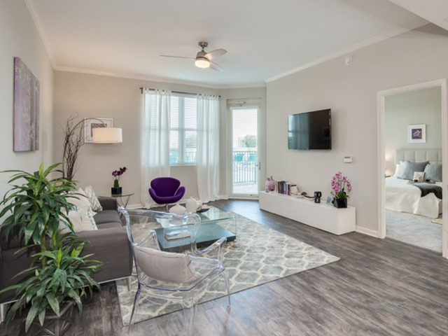 The Strand Jacksonville view of living room with plank flooring, ceiling fan and window with patio door