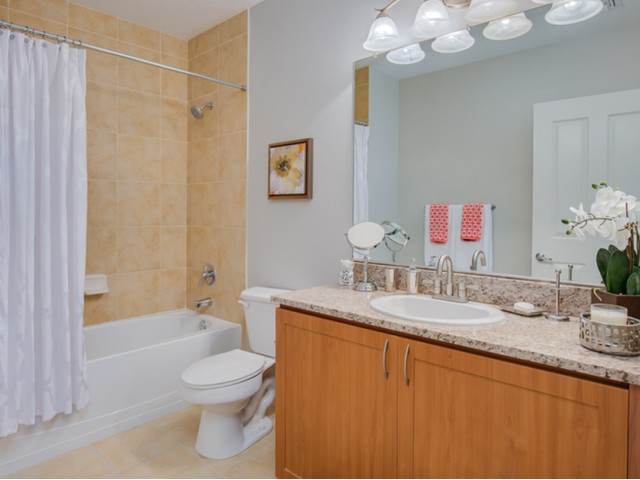 The Strand view of bathroom with granite counters, large mirror, tiled bath tub