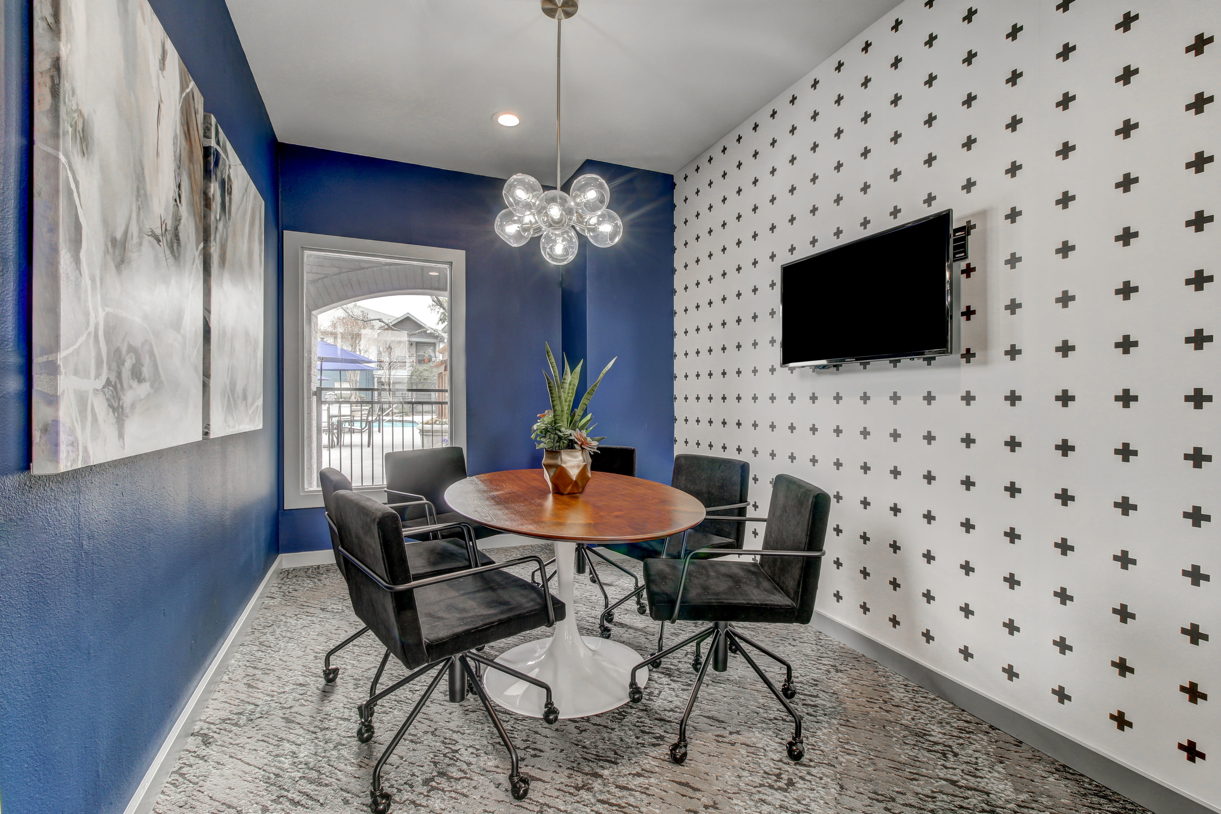 Conference Room with conference table and TV