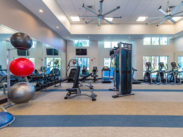 m2 at millenia fitness center with cardio, free weights, and exercise balls