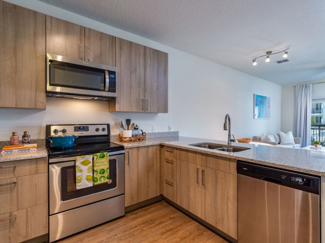 m2 at millenia kitchen view with stainless steel appliances, light wood grain cabinets, light granite counters and eat in kitchen bar
