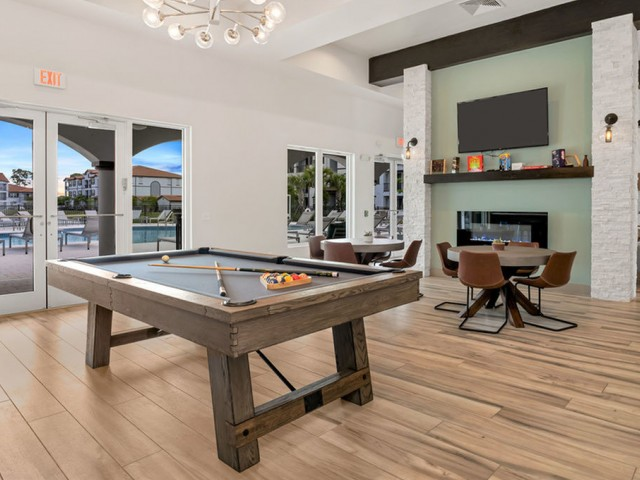 Venetian Apartments Ft. Myers Gaming room with billiards and gaming tables