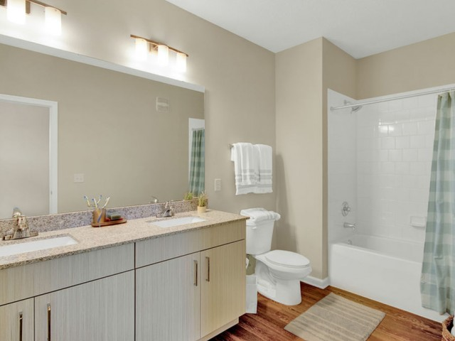 400 north apartments Maitland Florida bathroom with wood vinyl flooring, double sink, large mirror with tub and shower combo