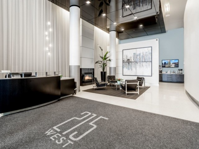 Resident lobby with lounge area and concierge desk