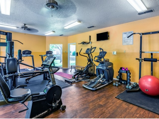 Fitness Center with a View to the Pool
