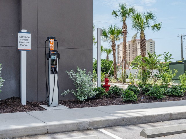 Chargepoint vehicle charging station outdoors