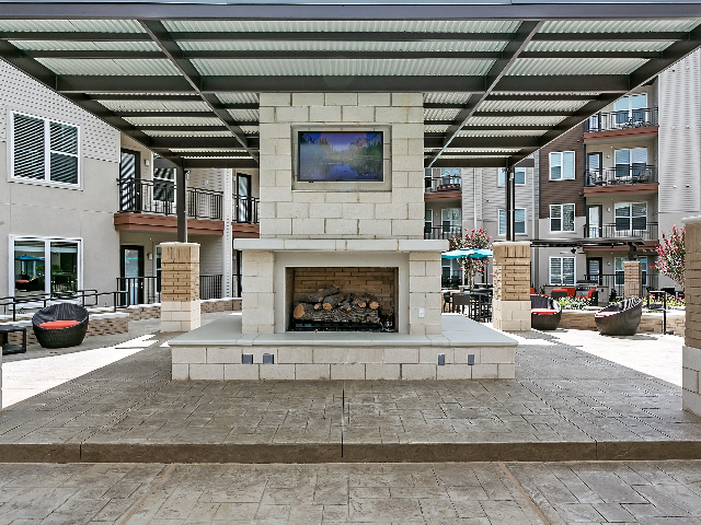 Courtyard fireplace