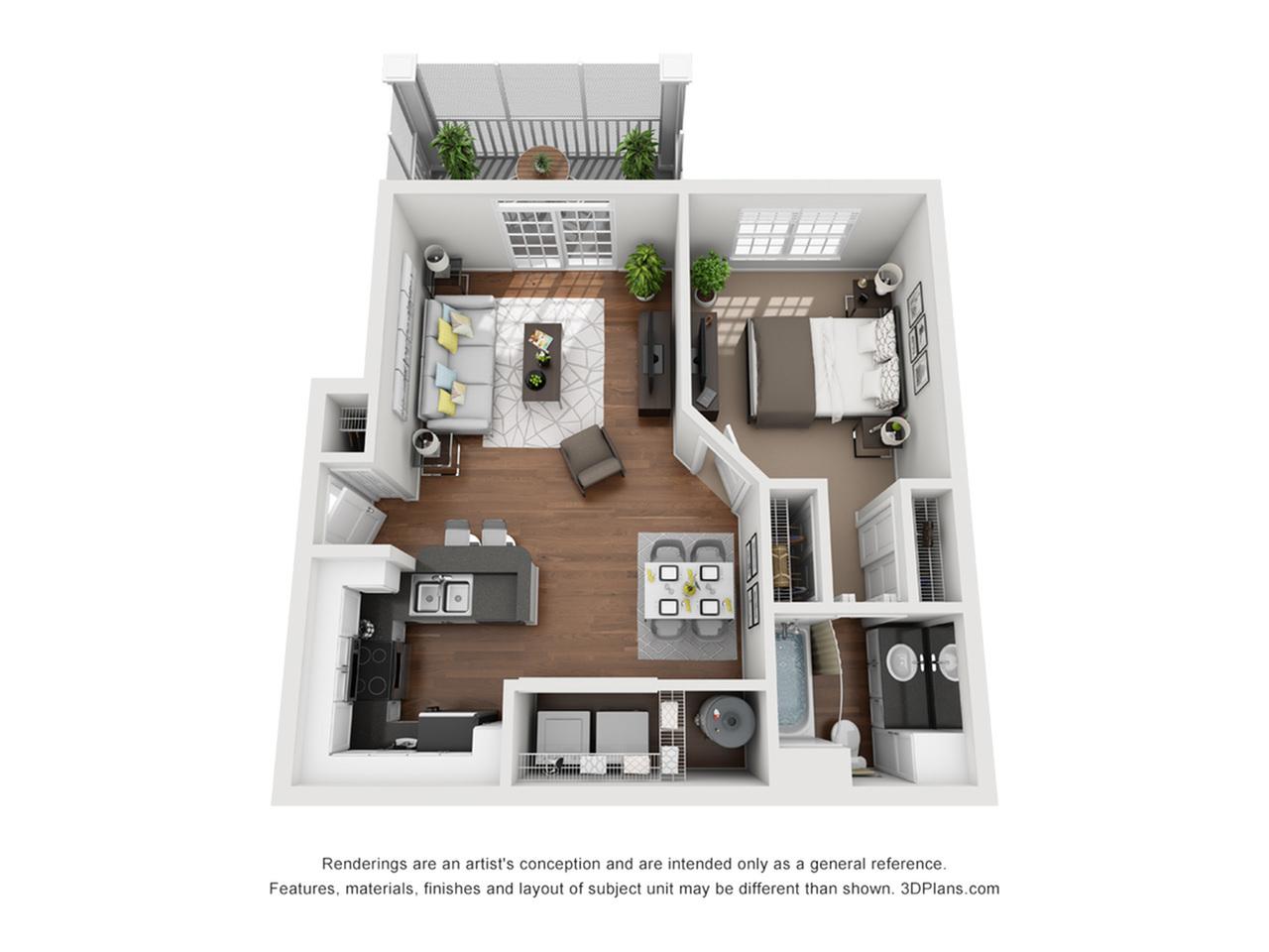 Air Balcony 665 Square Feet One Bedroom | One Bathroom