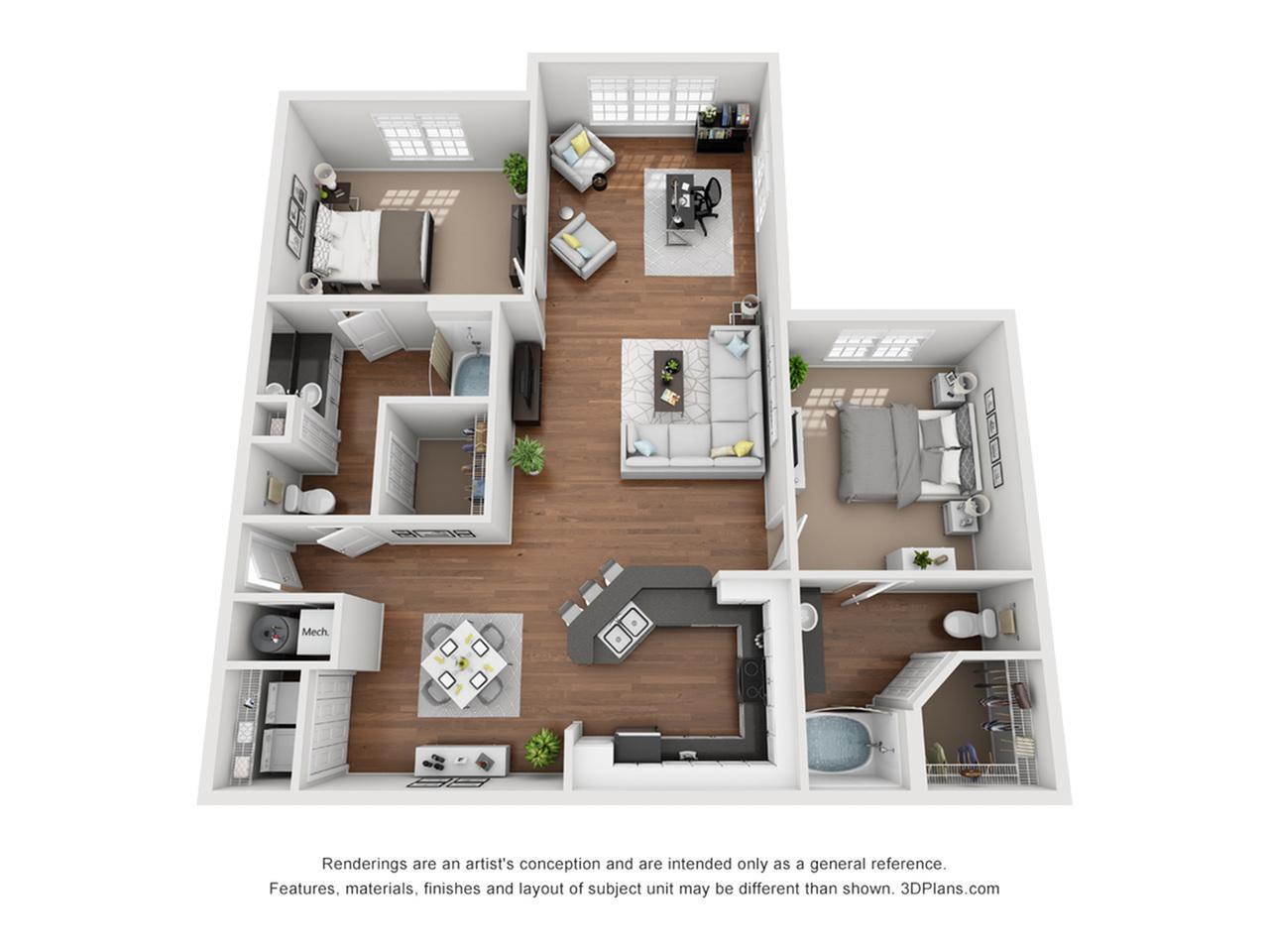 Metal with Solarium, 2 bedroom, two bathroom apartment