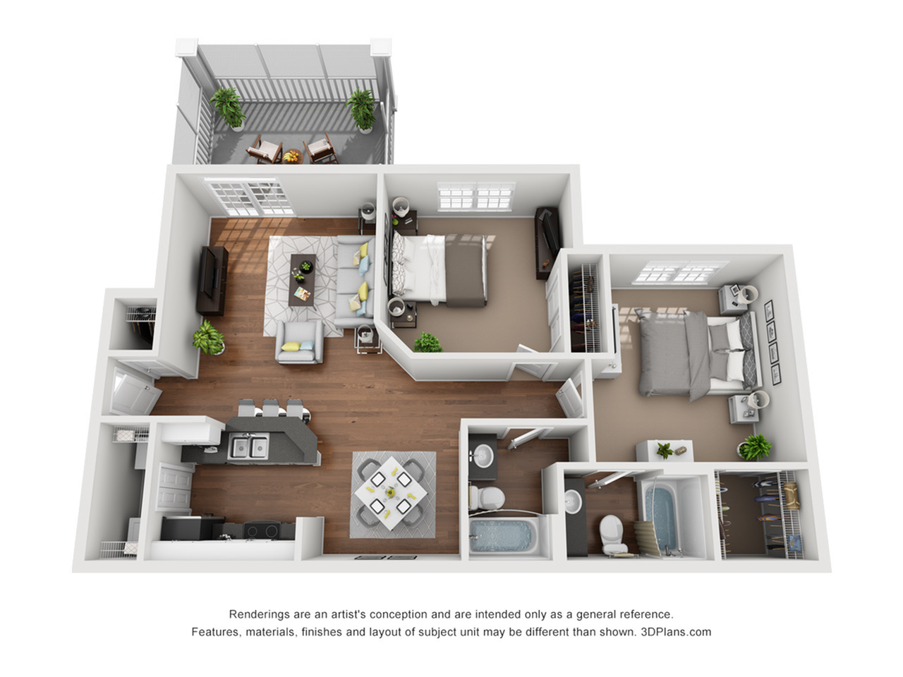Earth Balcony 949 Square Feet Two Bedroom | Two Bathroom