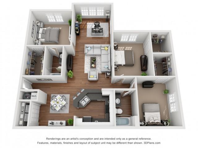 Fire Solarium 1280 Square Feet Three Bedroom | Two Bathroom