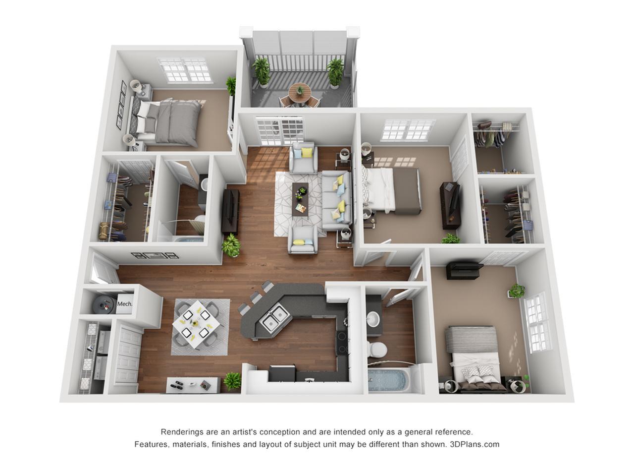 Fire Balcony 1280 Square Feet Three Bedroom | Two Bathroom