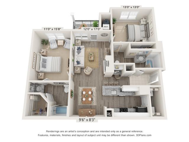 Hibiscus - 2 bed, 2 bath 1082 square feet