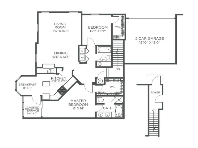 St Lucia two bedroom one bathroom floor plan