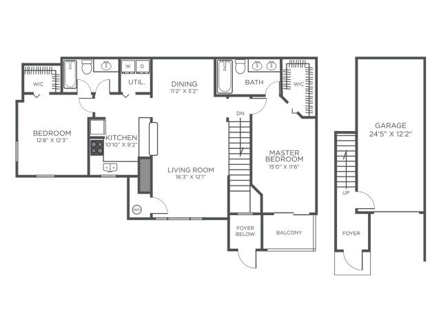 St Martin two bedroom two bathroom floor plan