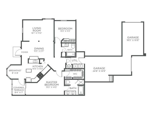 The Barbados two bedroom two bathroom floor plan
