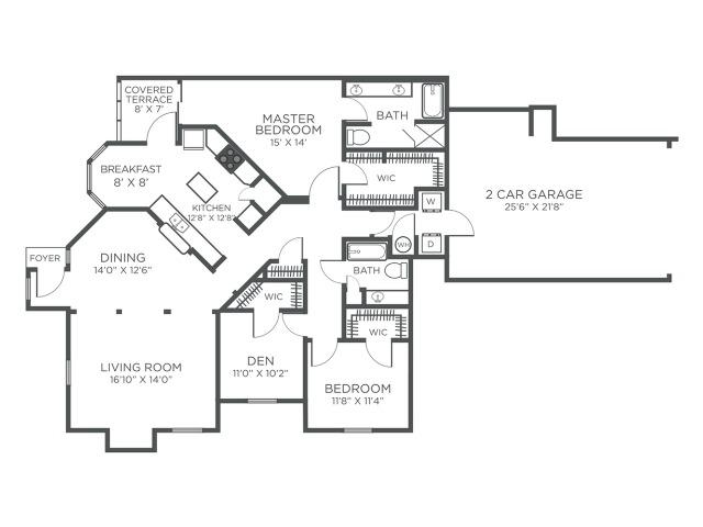 Grenada three bedroom two bathroom floor plan