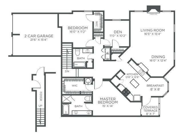 The Anguilla three bedroom two bathroom floor plan