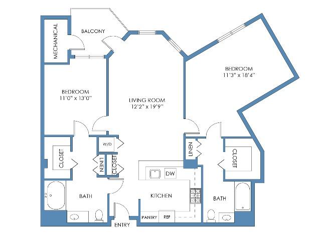Beacon Hill Floor Plan. 2 Bed, 2 Bath, 1142 Sq.Ft.