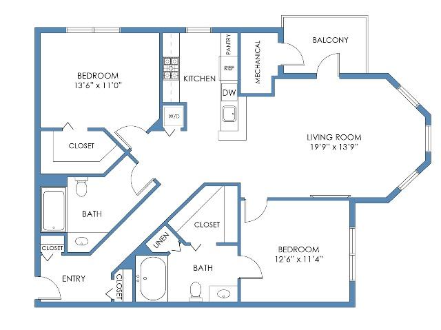 Newbury Floor Plan. 2 Bed, 2 Bath, 1194 Sq.Ft.