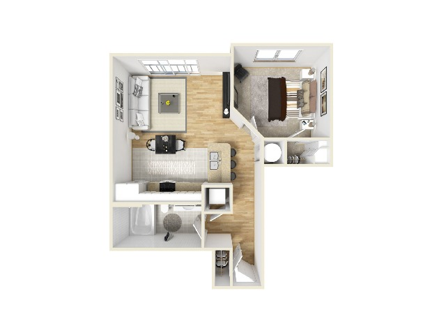 One Bed x One Bathroom Layout