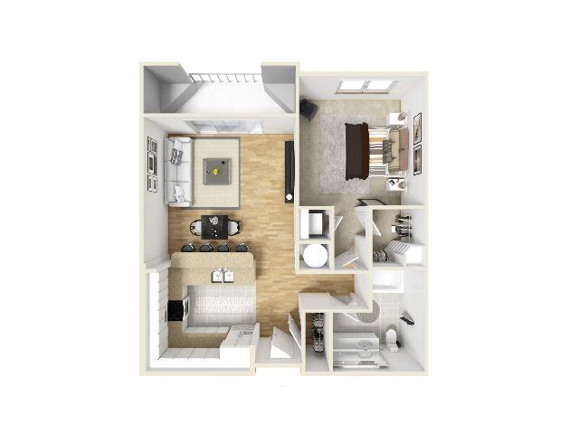 One Bedroom x One Bathroom Layout