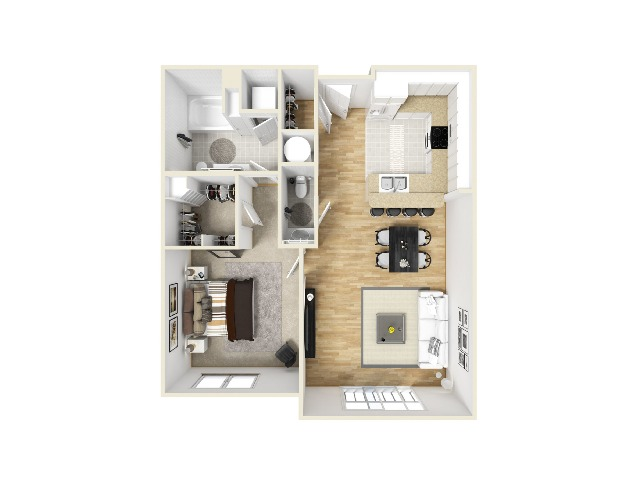One Bedroom, One and a Half Bathroom Layout