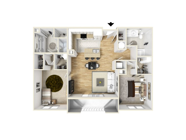 Two Bedroom Two Bathroom Layout
