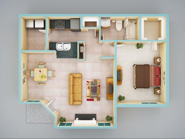 1 Bedroom Bath Apartment Floor Plans - Room Image and Wallper 2017