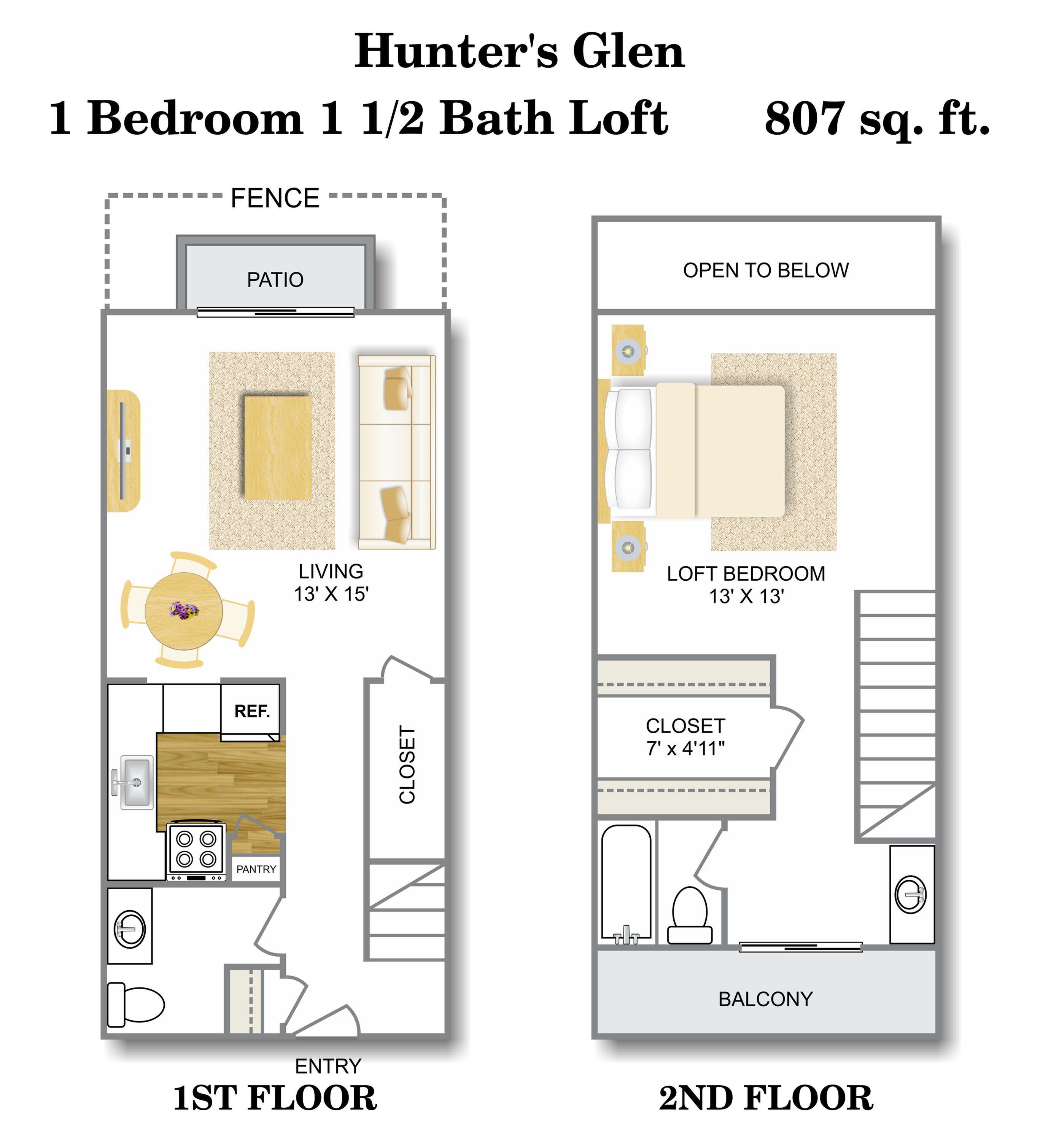 Floor Plan 2 | 1 Bedroom Apartments San Antonio | Hunter\'s Glen Apartments