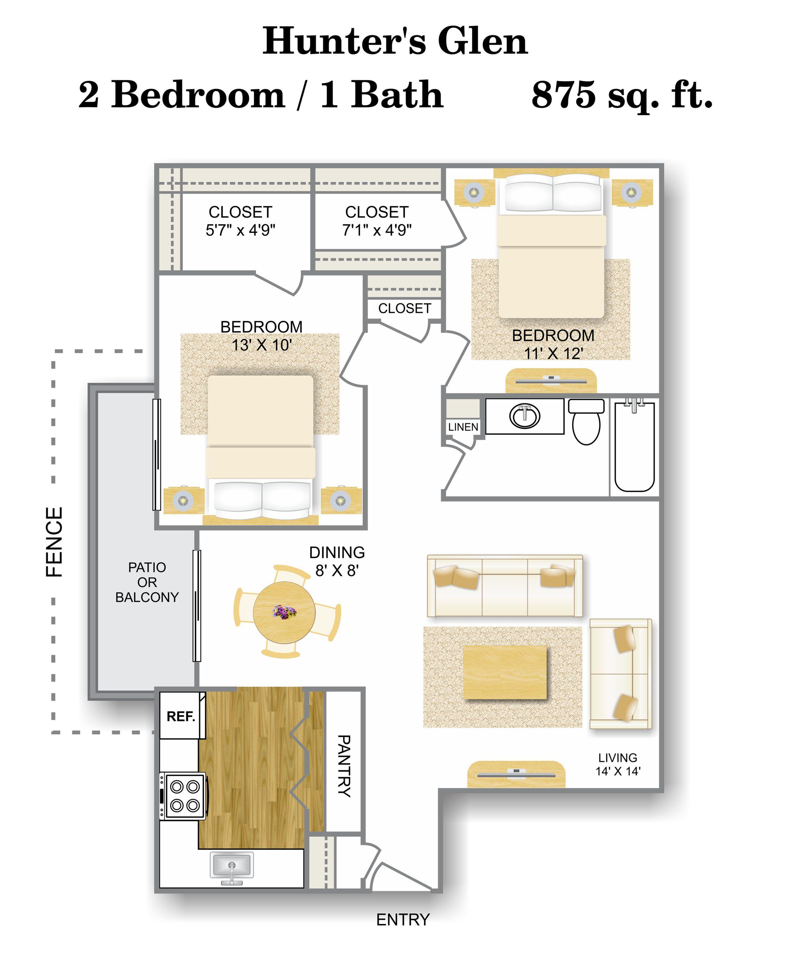 Floor Plan 3 | Apartments For Rent In San Antonio | Hunter\'s Glen Apartments