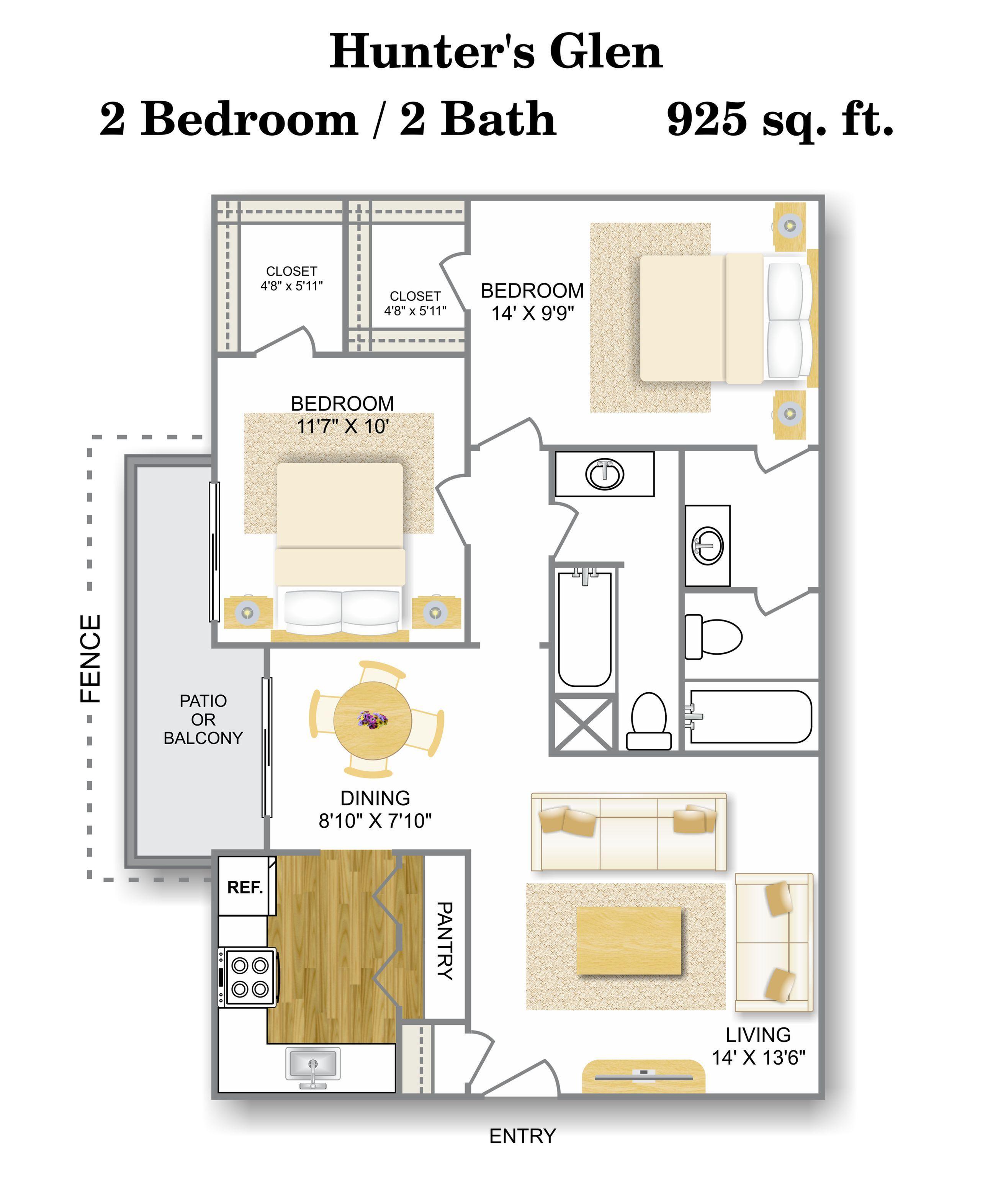 Floor Plan 5 | Apartments Near Medical Center San Antonio Tx | Hunter\'s Glen Apartments