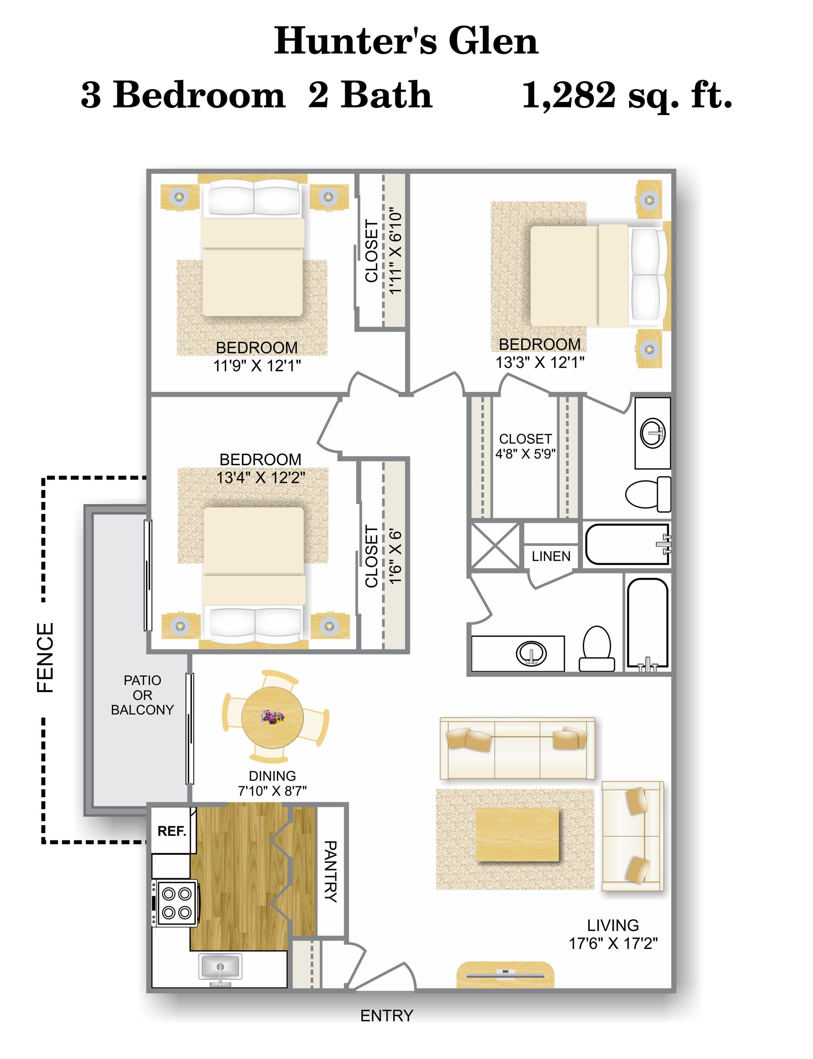 Floor Plan 6 | Apartments In San Antonio TX | Hunter\'s Glen Apartments