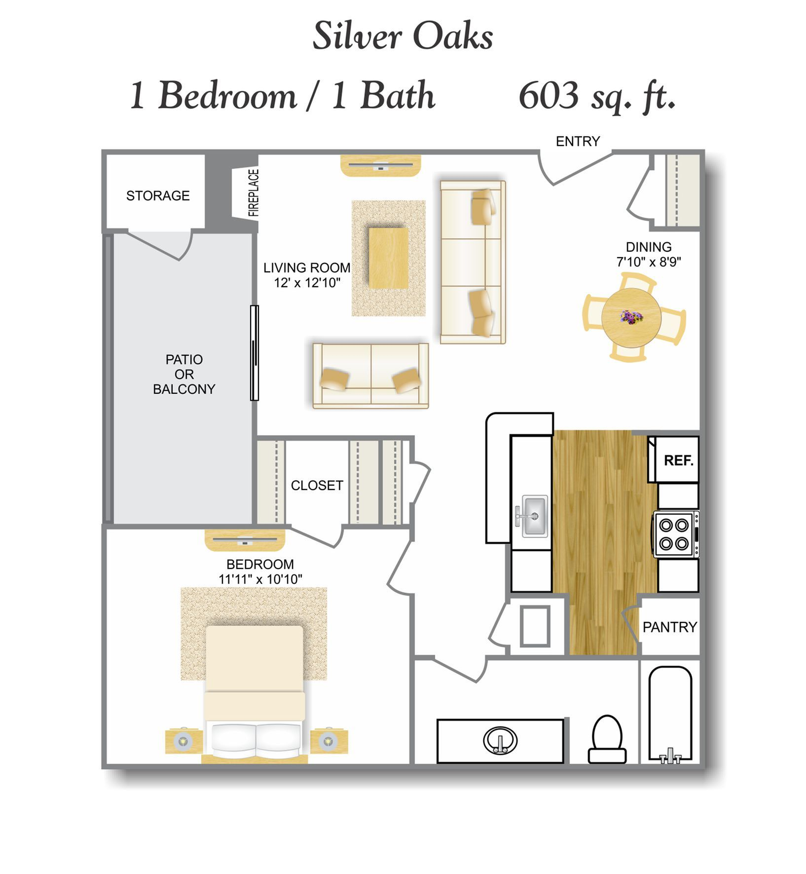 Bay Window 1 Bedroom Floor Plan | Apartments In Leon Valley San Antonio TX | Silver Oaks Apartments