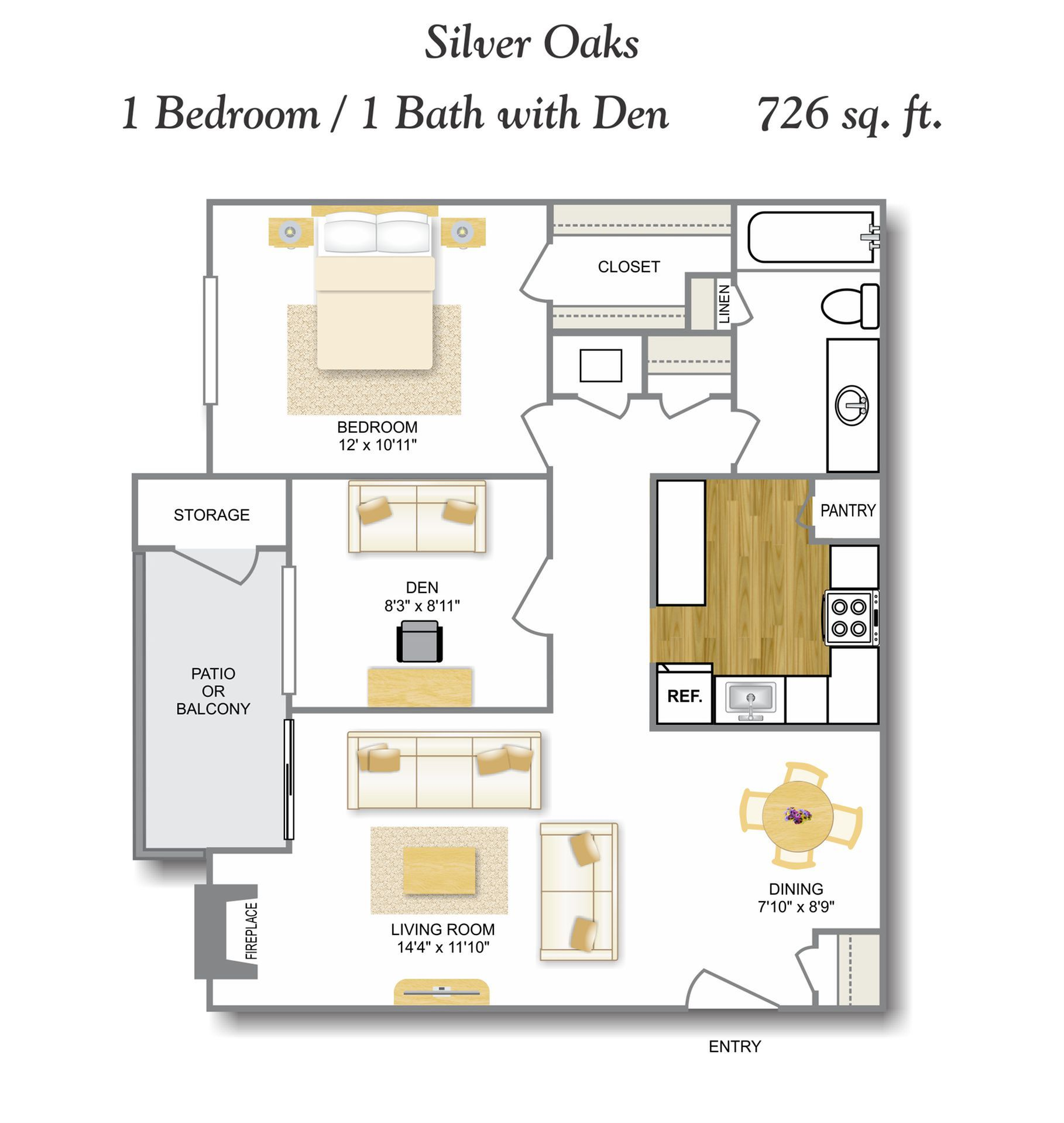 Den 1 Bedroom Floor Plan | Apartments In Leon Valley San Antonio TX | Silver Oaks Apartments