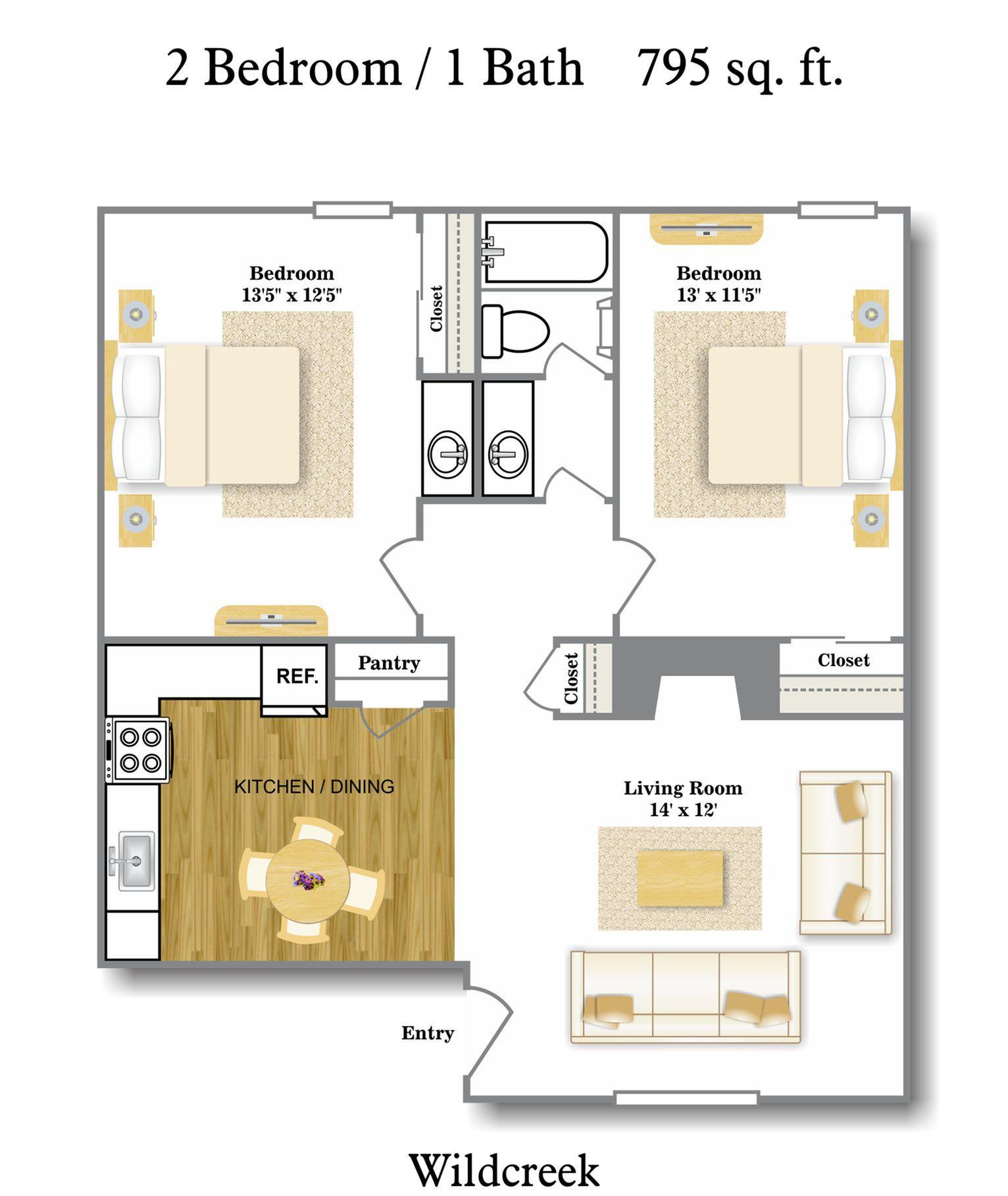 Floor Plans Pricing 1 2 Bedrooms Wildcreek Apartments