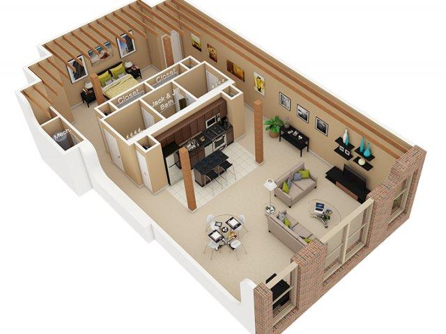 1 Bed / 1.5 Bath Apartment in Chicago IL | Cobbler Square Loft ...