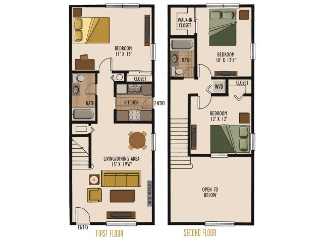 3 bedroom apartments in columbus ohio 2 bedroom townhome for 2 bedroom 2 bath with loft house plans