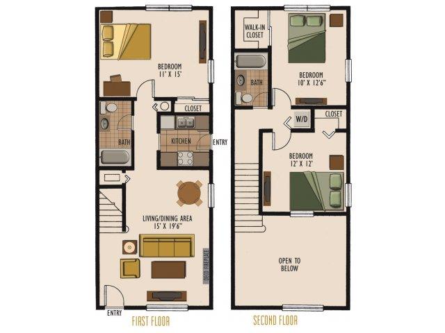 2 Bedroom Loft Apartment Floor Plans Latest Bestapartment 2018