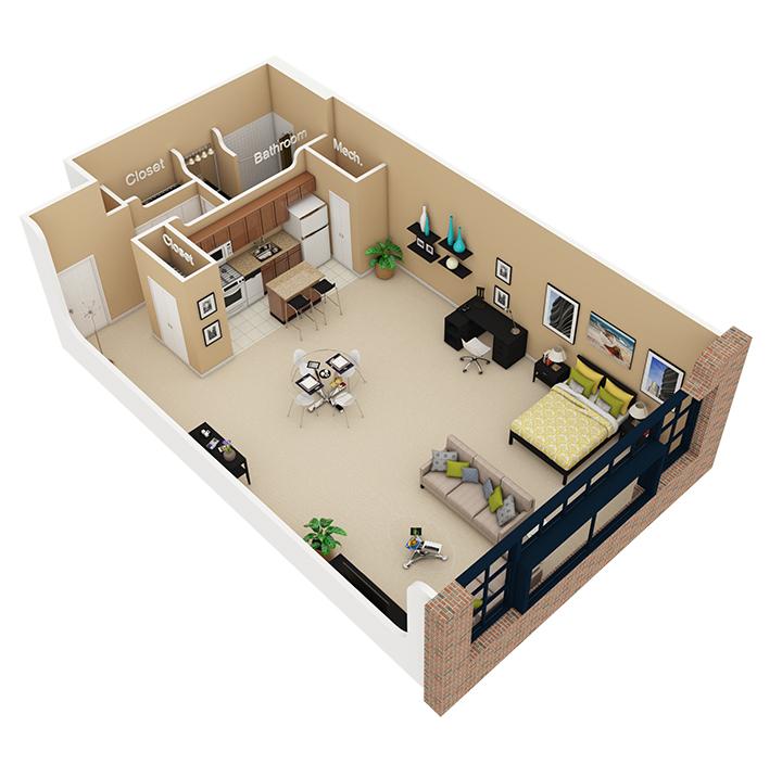 Studio / 1 Bath Apartment in Chicago IL | Cobbler Square Loft ...