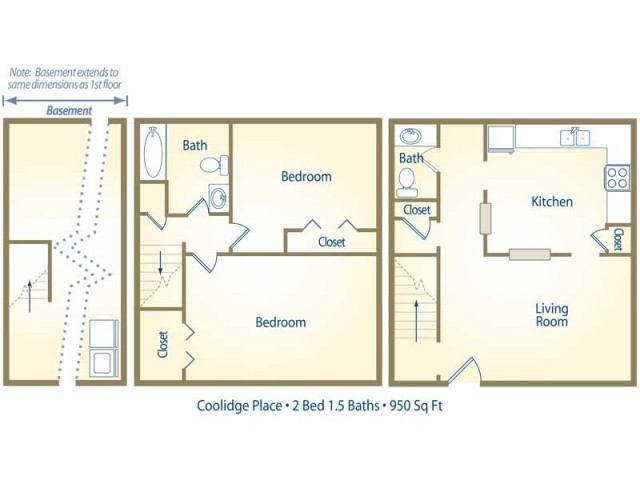 two bedroom - one and half bath apartment floor plan B