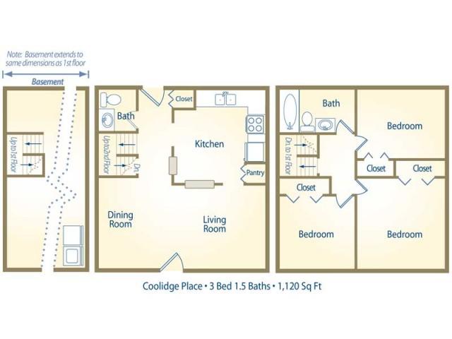 floor plan D - three bedroom with one and half bath